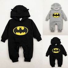 Baby Boys Infant Cartoon Batman Cotton Bodysuit Costume Romper Clothes Sets Spring