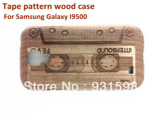 Newest arriving Natural wood wooden Case For Samsung Galaxy S4 i9500  Tape cassete Free Shipping
