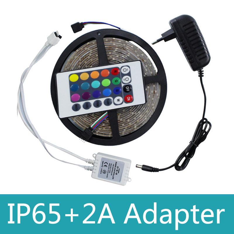 Waterproof 5M SMD 3528 RGB LED Flexible Strip Light Kit 300LEDs 60LEDs/M+24Keys IR Remote Controller+DC 12V Power Supply Adapter(China (Mainland))