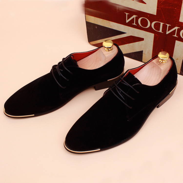 Autumn winter men shoes Suede flats pointed toe genuine leather trend plus velvet fashion casual scrub elevator - JIUJIU Store store