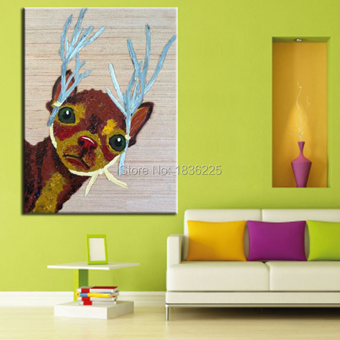 china painter home decor wholesale modern house home goods wall art animal deer abstract painting for children home decorate(China (Mainland))