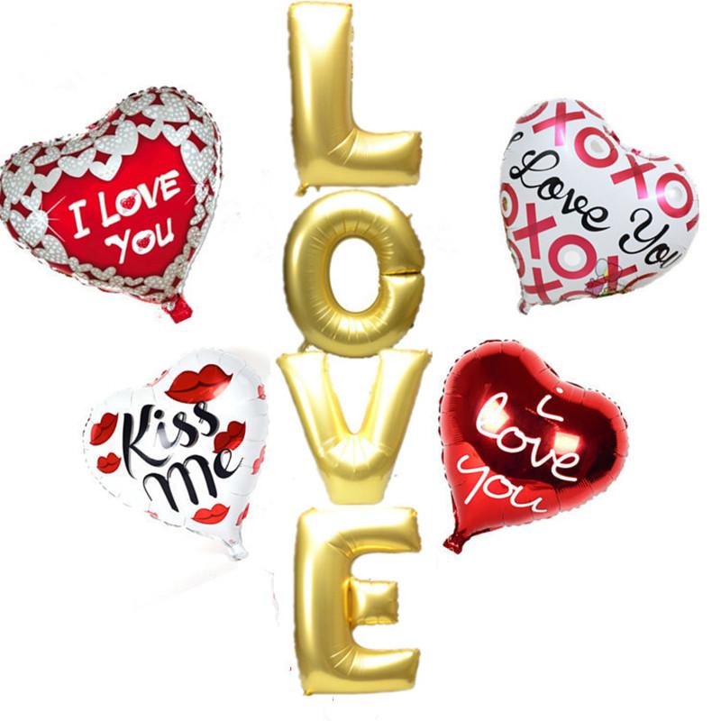 Wedding Decoration Balloons Set Letter LOVE Long Heart Foil Air Balloons XOXO Kiss me Ballons Wedding Party Supplies 8pcs/set(China (Mainland))