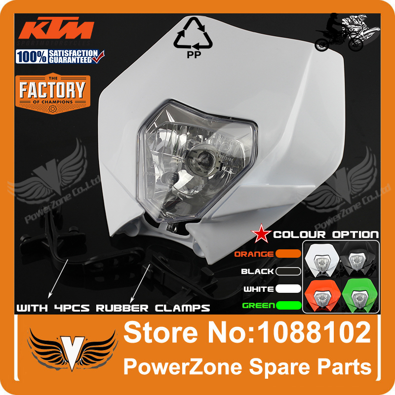 Motorcycle Dirt Bike Motocross Supermoto Universal Headlight KTM SX EXC XCF SXF SMR White Headlamp Fairing Free Shipping!(China (Mainland))