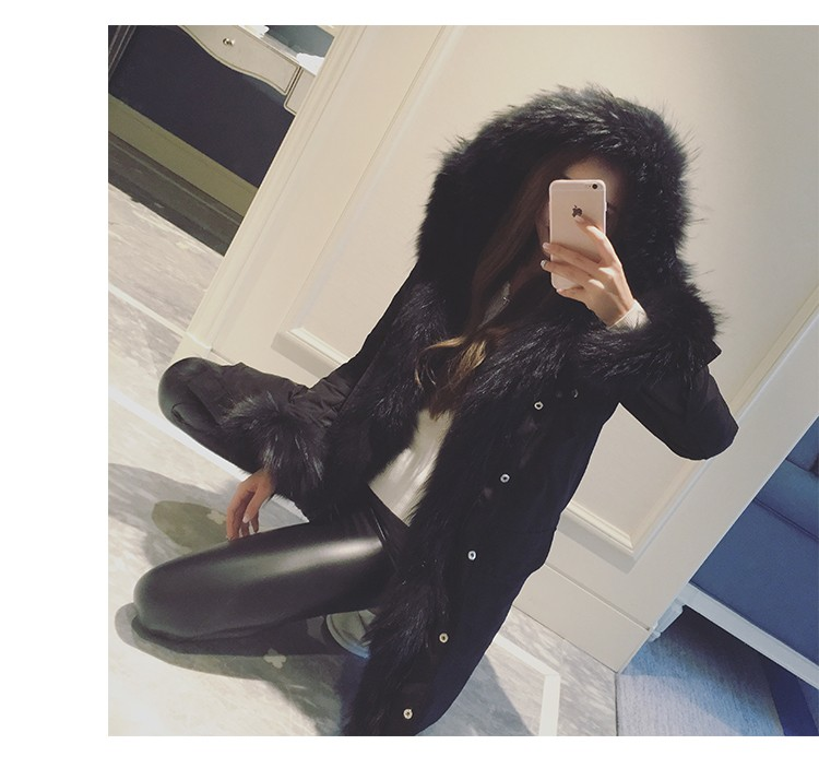 Luxury Real Fox Fur Parka For Women Winter 2016 Korean Fashion White Warm Down Coat XXL Plus Size Warm winter jacket women