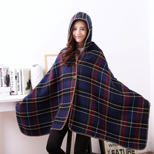 2017 Winter Fashion Women's Scarf Female Luxury Thick Warm Hooded Poncho Cashmere Shawl Casual Designer Plaid Scarves For Women(China (Mainland))