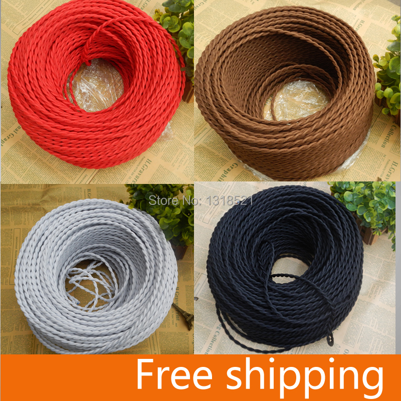 Free shipping Vintage dark brown knitted cloth twisted electrical wire copper conductor electrical wire pendant light lamps line(China (Mainland))