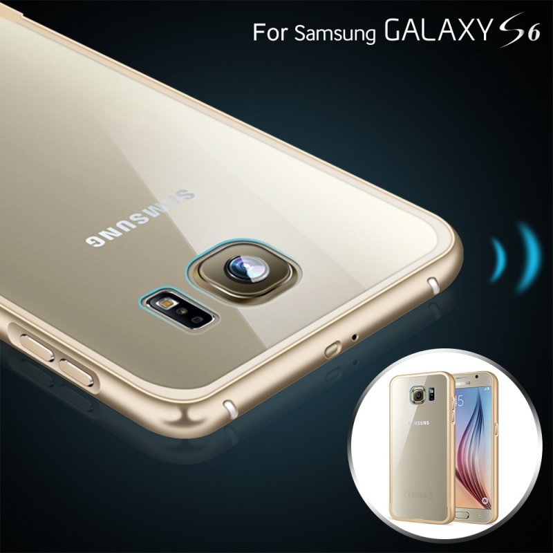 For Galaxy S6 Metal Cases Fashion Aluminum Metal + Clear Back Capa Case For Samsung Galaxy S6 G9200 Luxury Hybrid Armor Cover(China (Mainland))