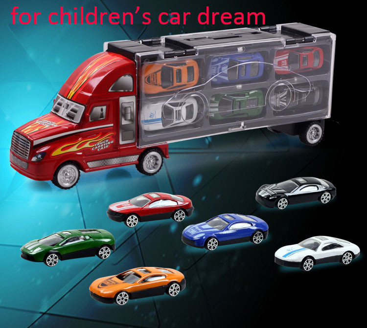 6 Hot wheels Toy Cars A Set With Portable Box Big Truck Pattern Design Super High Cost-Performance Children's Car Dream(China (Mainland))
