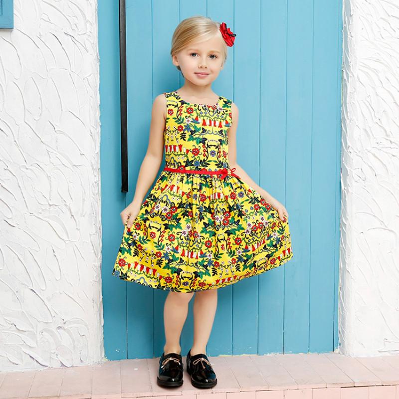 Baby Girl Dress Said That Summer Is The Little Girl Dress Comfortable Stamp Sleeveless Dress Girl Flower Design