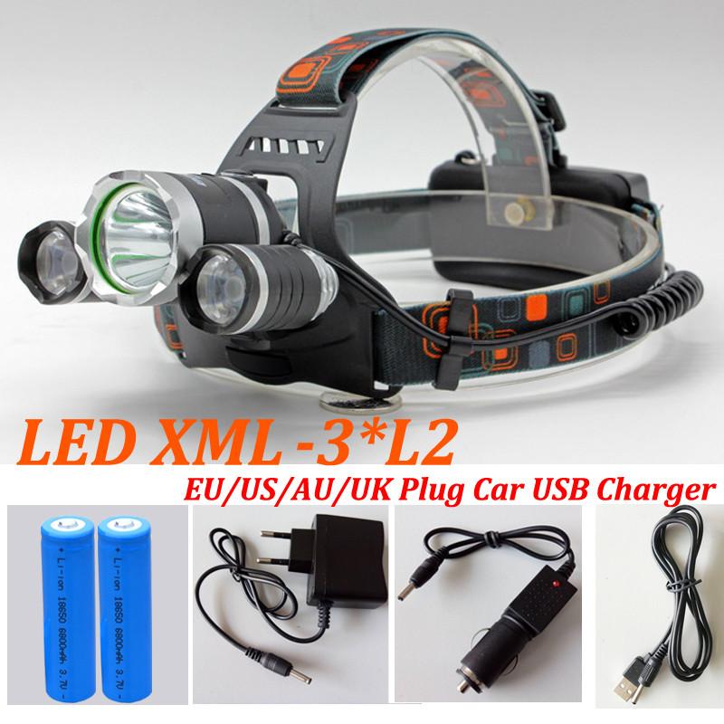 Headlight 9000 Lumens 3x CREE XM-L2 LED High Power Head light Headlamp Lamp +2*18650 Battery +Charger FREE SHI(China (Mainland))