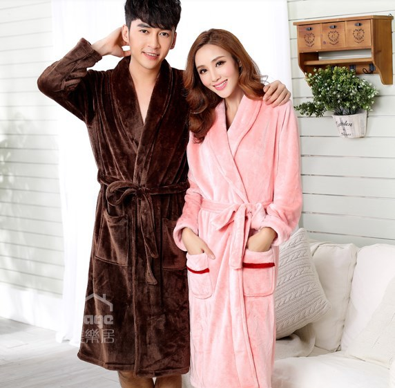 2014 Autumn Winter Fashion Solid Colors Coral Fleece Bathrobes Men Women Robe Long Night Gowns Sleepwear - Speciality Popularity Variety of Commodity City China store