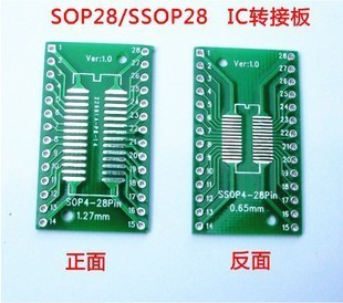 36PCS/LOT SO/SSOP/SOIC/MSOP TSSOP28 / TSSOP20 turn DIP28 1.27MM / 0.65MM turn 2.54MM IC adapter Socket / Adapter plate / PCB