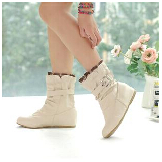 Women Boots Fashion Autumn New Sweet Shoes Woman PU Leather Casual Buckle Lace Vintage Ankle Boots Beige/Pink/White/Black 44-34