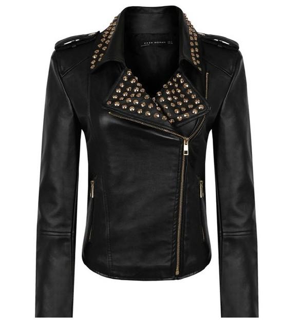 Women's self-cultivation black rivet decorative leather coat leather jacket TR1960