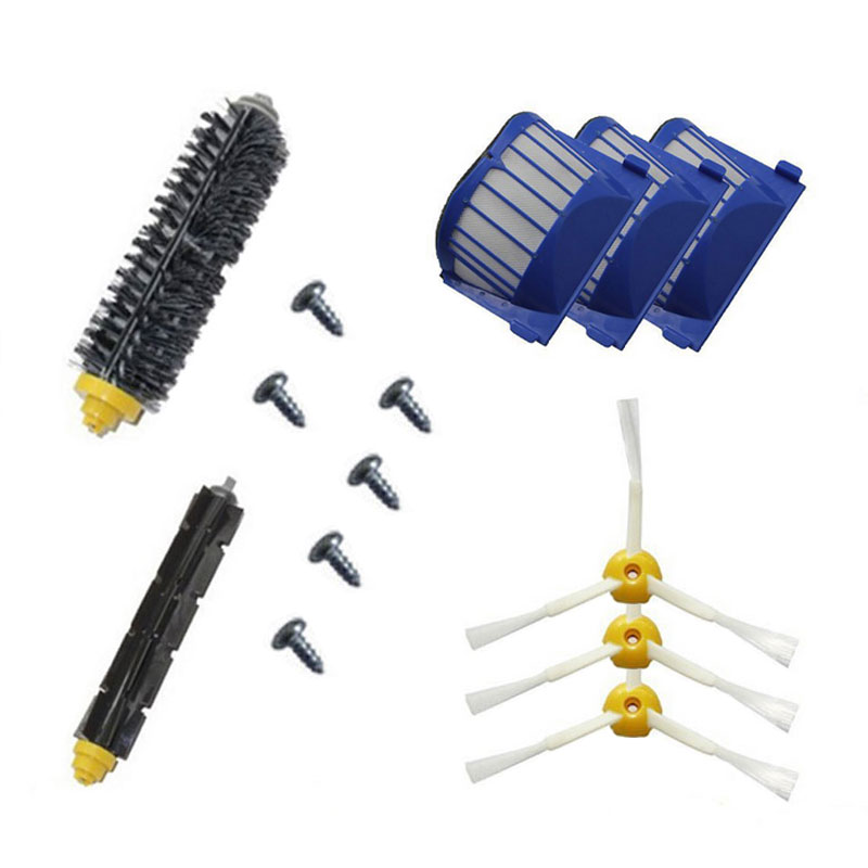 3 Blue AeroVac Filter +1 set main Brush kit +3 side brush 6 Screw for iRobot Roomba 600 Series 620 630 650 660 replacement parts(China (Mainland))