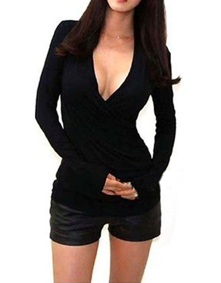 Drop shipping s xl 4 colors lady women fitted sexy low cut for V neck black t shirt women s