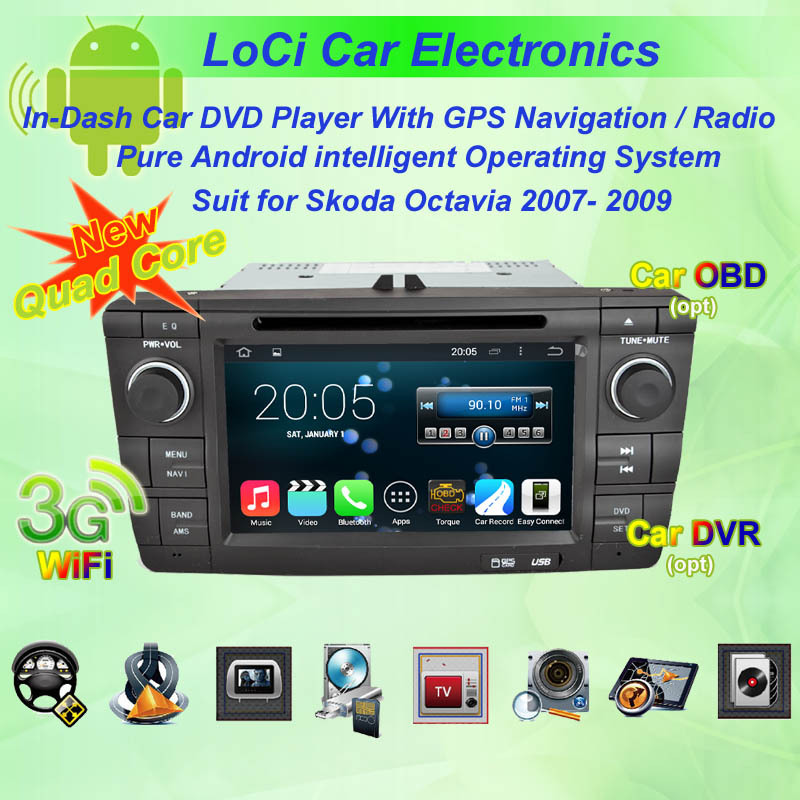 2007- 2009 Skoda Octavia Android GPS Navigation DVD Player ,Multimedia Video Player system+Free GPS map& camera(China (Mainland))
