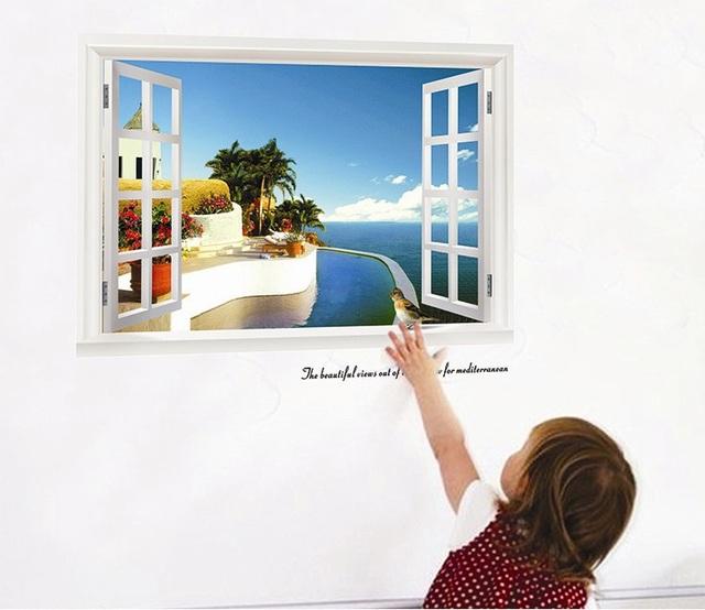 Прямая поставка 3D волшебный поддельные окна естественный вид пейзаж стикер стены прекрасный вид винная фреска наклейка отделка стен