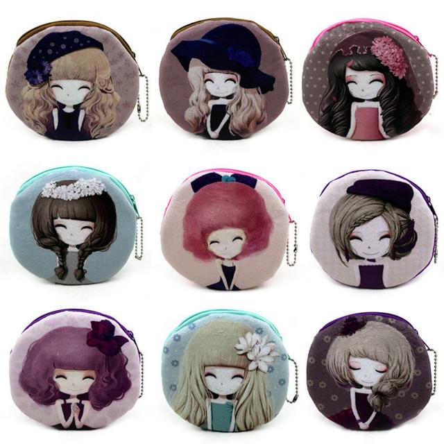 Мода девушки плюшевые портмоне довольно кукла красочные девушка монеты сумки карты ...