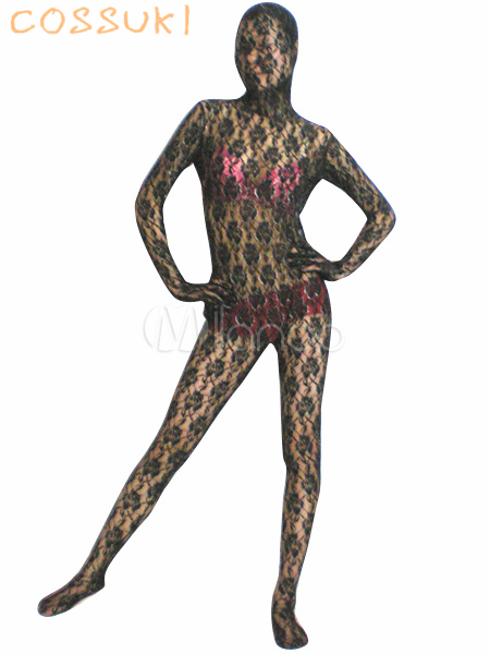 Free shipping! Newest! Halloween! High quality! Black Transparent Lace Velvet Zentai Suit(China (Mainland))