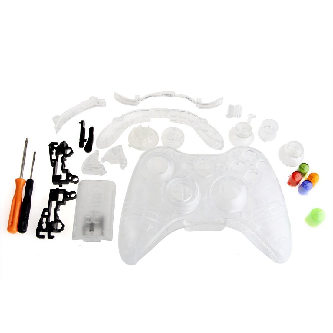 New Color Bottons & Clear Case Accessories Protection Cover Case Sets Tool For XBOX 360 Games Controller(China (Mainland))