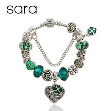 Green Murano Glass Beads Bracelets & bangles Silver Plated Heart Charm bracelet for women jewelry bijoux B15253(China (Mainland))