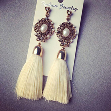 Retro Royal Fashion Gems White Ocean Flow Tassel Temperament Ethnic Wire Drop Earrings Jewelry Accessory for Women(China (Mainland))