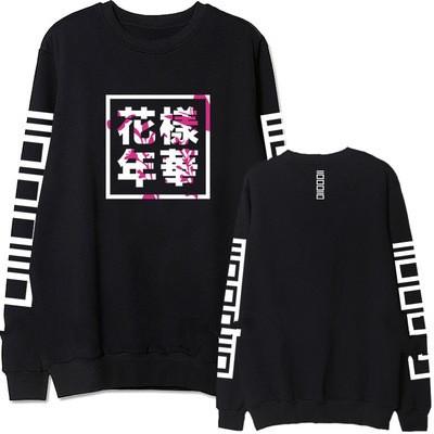 Kpop bts bangtan boys album same floral chinese letters printing sweatshirt fashion pullover hoodie for men women plus size