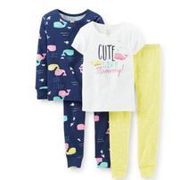 2016 Summer New Kid Little Girls Cotton 4-piece Shortsleeves T shirt + Leggings Pajamas Suit Sleepwear Nightclothes(China (Mainland))