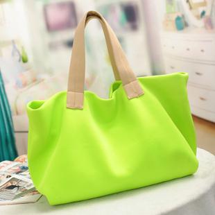 Ladies' shopping bag neon color shoulder bag candy color women's handbag