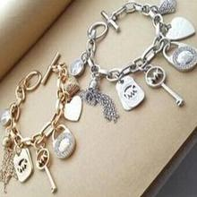 2015 New fashion Kors  Charm Bracelets & Bangles Gold and silver Lovers Chain for women girl Jewelry(China (Mainland))
