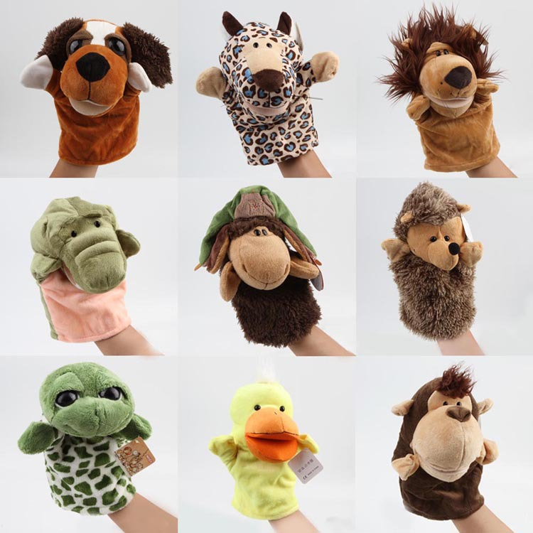 New Arrival Kid Child Cute Plush Velour Animals Hand Puppets Chic Designs Learning Aid Toy Drop Shipping Toy-0028(China (Mainland))