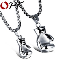 OPK Gold/Black/Silver Plated Fashion Mini Boxing Glove Necklace Boxing Jewelry Stainless Steel Cool Pendant For Men Boys Gift(China (Mainland))