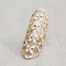 R174 Free Shipping,Shine Rhinestone Hollow out Long Finger Rings,Jewelry Wholesale(China (Mainland))