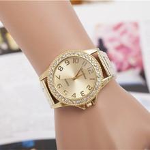 Moda mujer relojes de primeras marcas de lujo piedras acero inoxidable Silver Gold Ladies vestido de mujer de cuarzo reloj relojes de mujer
