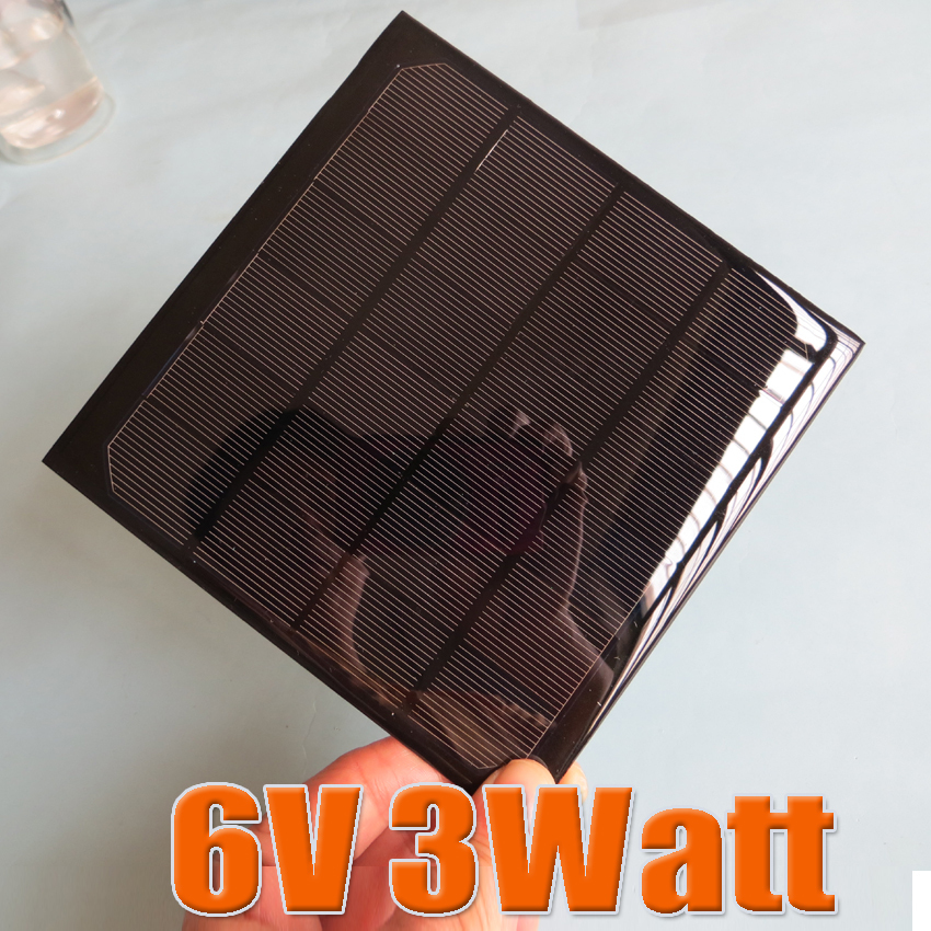 6V 3W 495mA Mini monocrystalline polycrystalline solar cell battery Panel charger for mobile phone education study kits(China (Mainland))