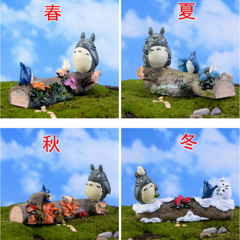 Miniature Garden Fairy Figurines Moss Micro Landscape Ornaments Model Kawaii Of Miyazaki Miniature Season Totoro Doll Ornaments(China (Mainland))