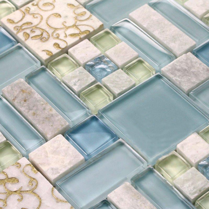 Dusche Platten Wand : Stone Mosaic Tile Bathroom