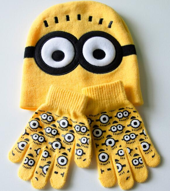 Despicable Me Minions Knit Caps Gloves Winter Kids Girls Boys Cartoon Knitted Hats Gloves Children Knitted cap(China (Mainland))