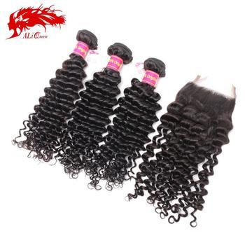 6A Brazilian Deep Wave Curly Virgin Hair With Closure Free Shipping Grade 6A Cheap Brazilian Deep Wave With Closure