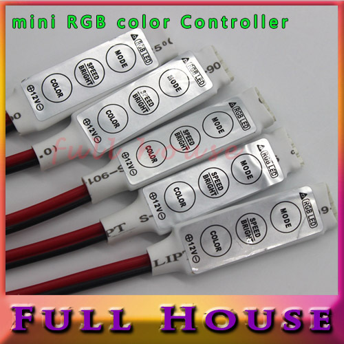 Mini RGB Controller Dimmer 12V 6A 3 Keys for 5050 3528 RGB LED Strip Light 19 Dynamic Modes and 20 Static Color Free Shipping(China (Mainland))