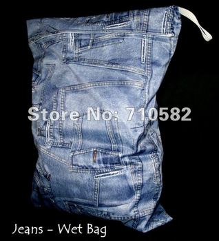 Free Shipping Hot Sale Design 30*36cm Waterproof Jeans Mami Baby Diaper Wet Bags Maternal with Double Pockets