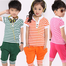 Kids Boys and Girls Clothes Sports Suit Sets 100% Cotton Striped T Shirt+Short Harem Pants 2015 New Summer Children Clothing Set(China (Mainland))