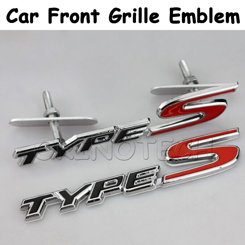 Car Styling 3D Metal TYPES TYPE S Car Front Grille Sticker Emblem Badge For Honda Civic CRV Fit HRV Accord Black/White(China (Mainland))