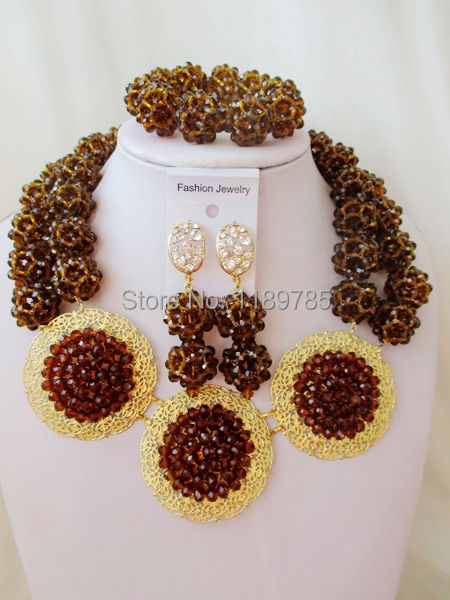Luxury African Bridal Crystal balls necklace The beads wholesale  Nigeria wedding jewelry set new free shipping B-13331<br><br>Aliexpress
