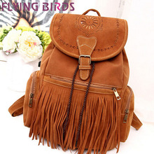 FLYING BIRDS !backpacks women backpack Tassel Suede Leather school bag ladies travel bags for women bag famous brand LS57365fb(China (Mainland))