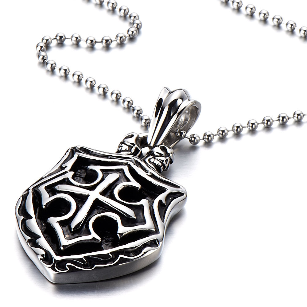 2015 Men' 316L Stainless Steel Heart Cross Dog Tag Pendant Charm -with 23 inch Chain(China (Mainland))