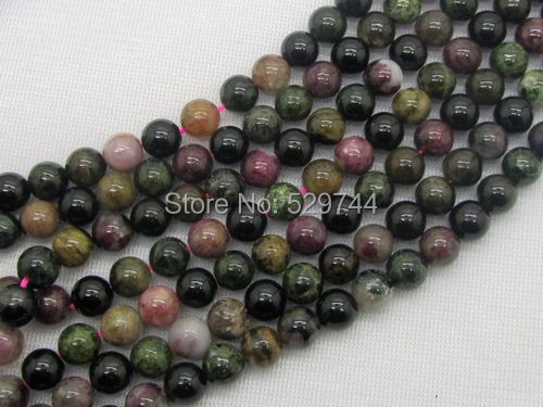 Free Shipping! Natural Tourmaline Stone, 8 mm Round Bead, Natural Mixed Color, 15.5 inch (39 cm Long)! Rare Stone!