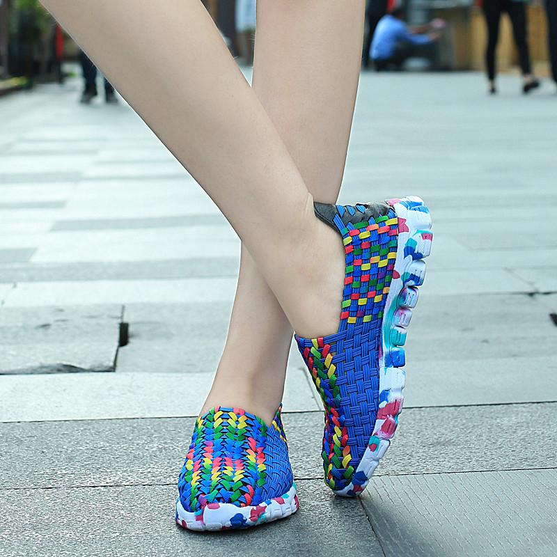 Lemai 2016 лето свободного покроя девушку удобные мода дышащий открытый обувь туфли-кожаных - на красочные плоские туфли