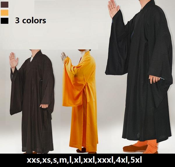 Free shipping,Unisex plus size Chinese Traditional Kung Fu zen buddhist monk robes,shaolin monk robes,shaolin monks martial arts(China (Mainland))